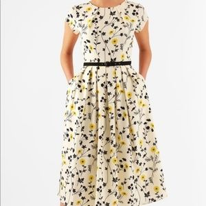 eShakti | Cream Sunflower Dress Plus 1X/2X